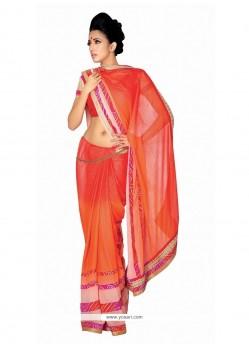 Fashionable Orange Georgette Designer Saree