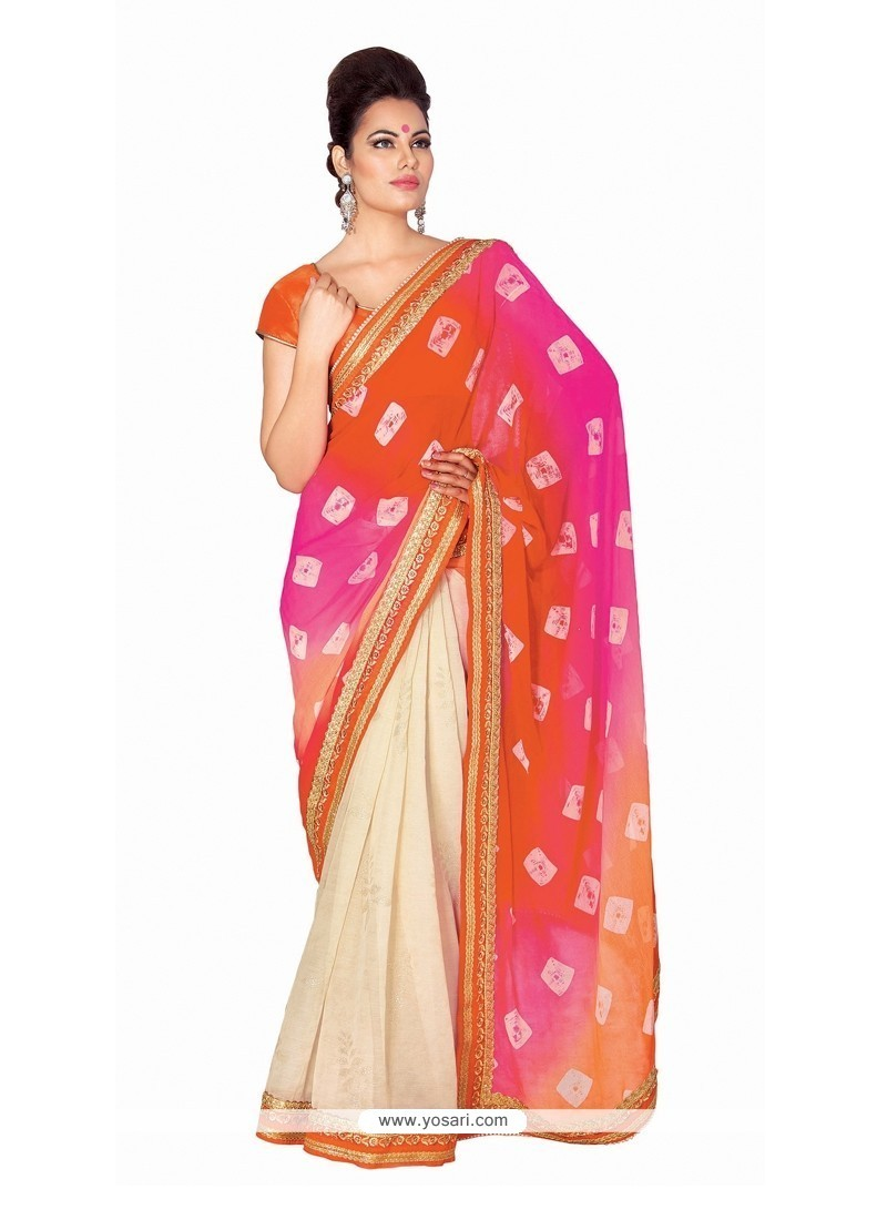 Flattering Multi Colour Patch Border Work Designer Saree