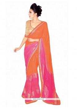 Specialised Patch Border Work Georgette Designer Saree