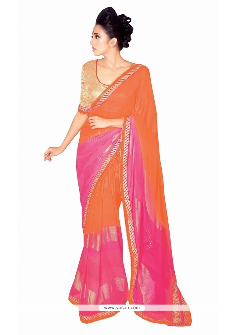 Specialised Patch Border Work Georgette Designer Saree