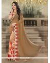 Lustrous Patch Border Work Peach Designer Saree