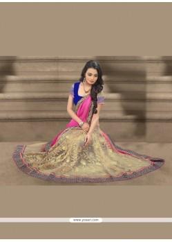Trendy Jacquard Patch Border Work Designer Saree