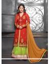Orange And Green Designer Anarkali Suit