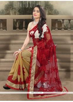 Sunshine Georgette Red Designer Saree