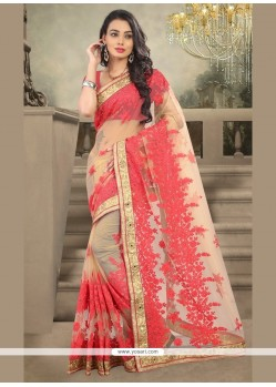 Tiptop Cream Embroidered Work Designer Saree