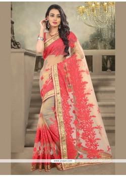 Tiptop Cream Embroidered Work Designer Saree