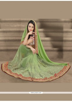 Green Patch Border Work Net Designer Saree