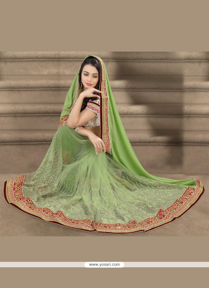 Green Patch Border Work Net Designer Saree