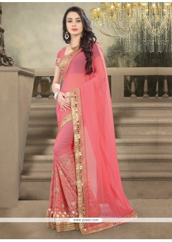 Celestial Pink Embroidered Work Designer Saree