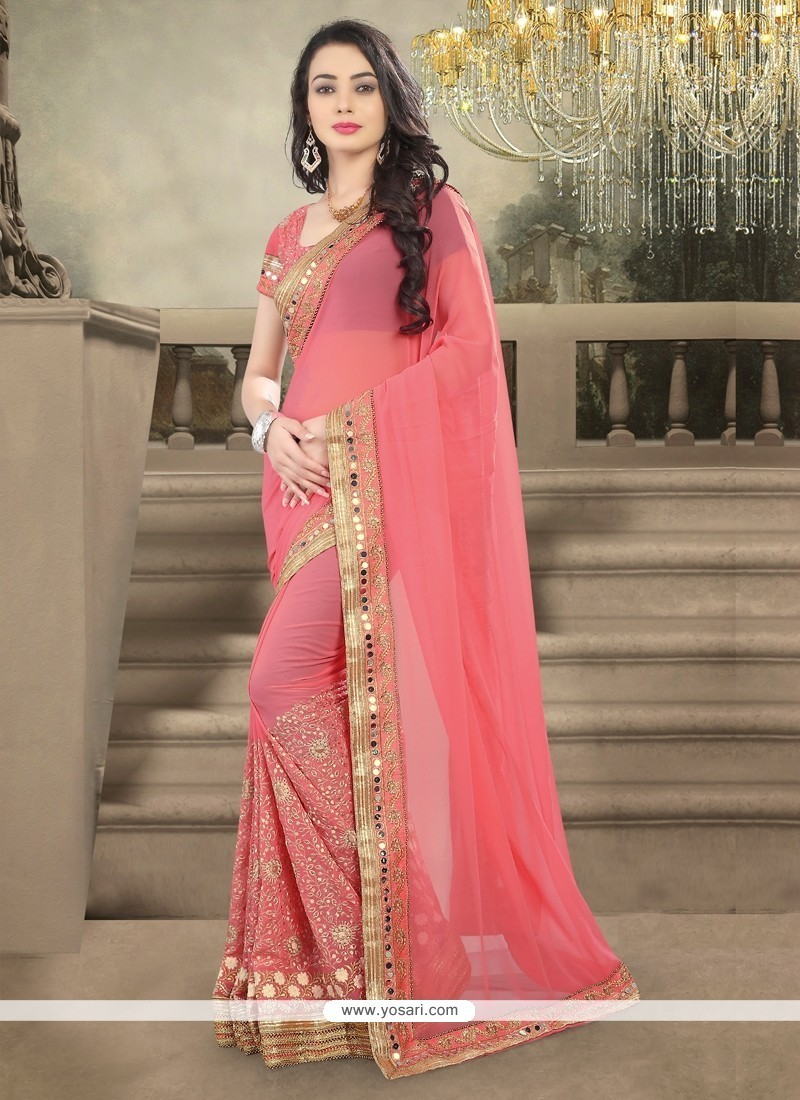 Celestial Pink Embroidered Work Designer Saree