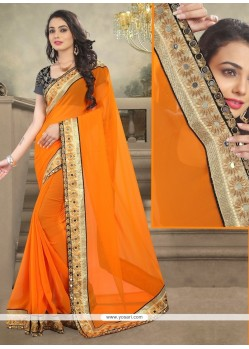 Auspicious Patch Border Work Designer Saree