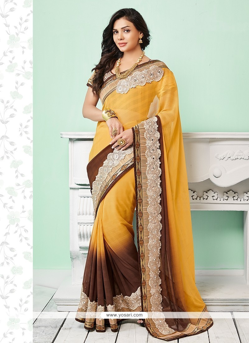 Dignified Brown And Yellow Jute Silk Classic Saree
