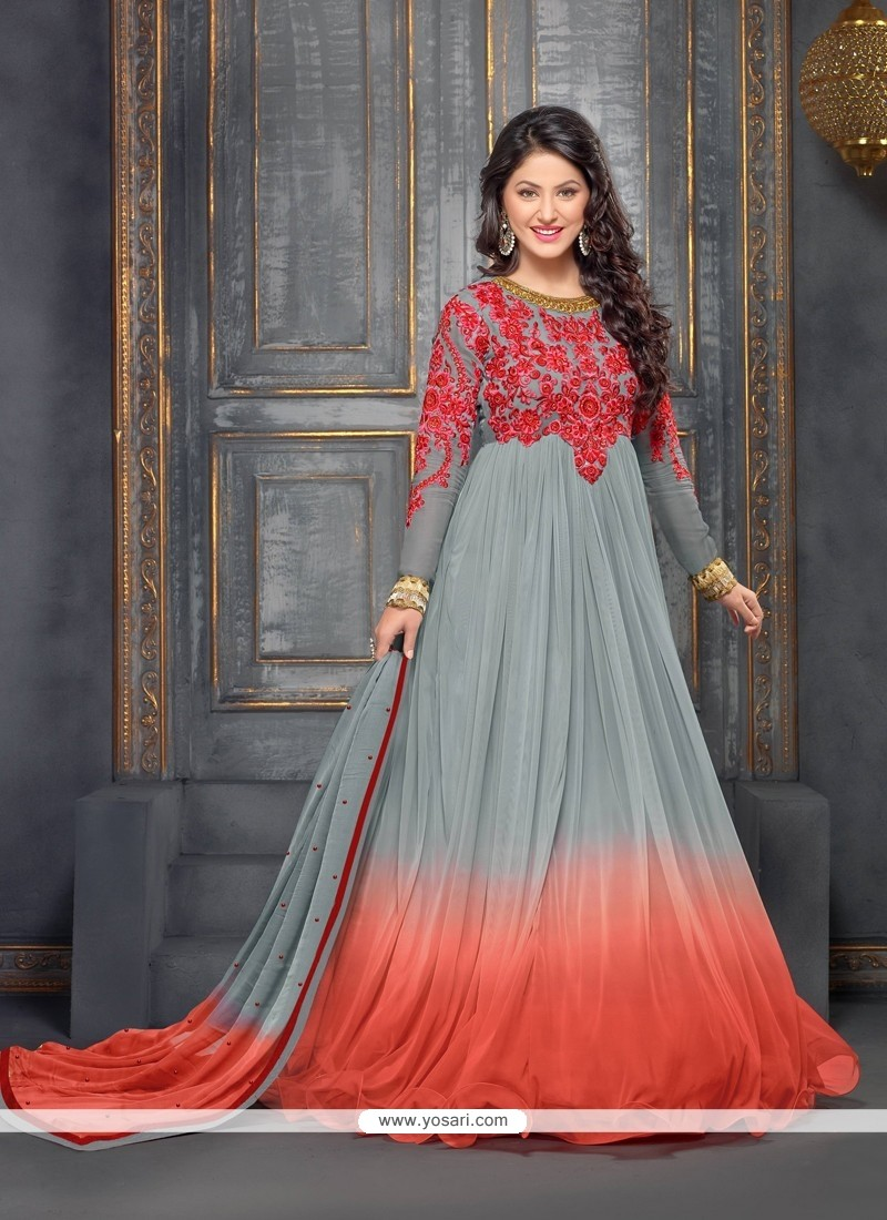 Grey And Orange Shaded Georgette Anarkali Suit