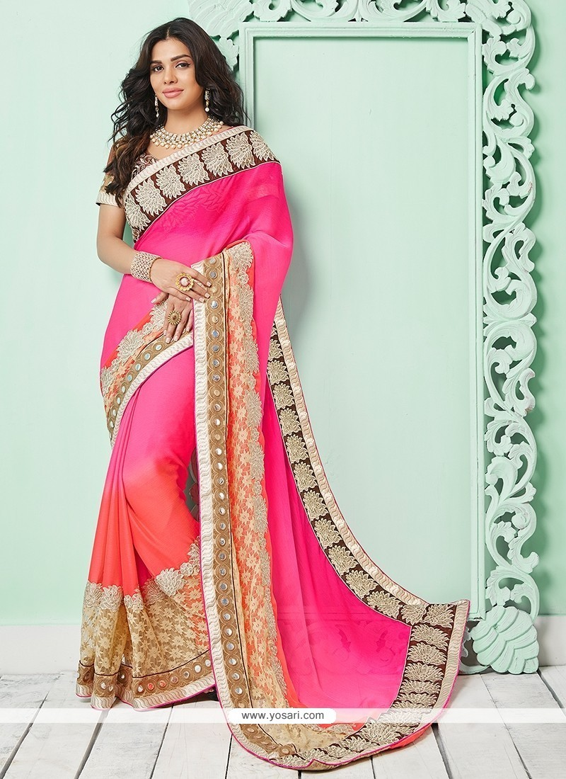 Orphic Hot Pink Patch Border Work Bamber Georgette Classic Saree
