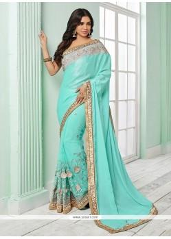 Picturesque Turquoise Classic Saree