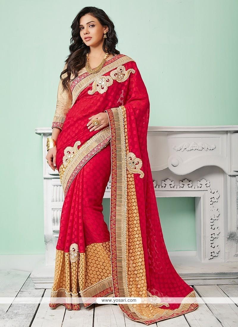 Prime Jacquard Red Classic Saree