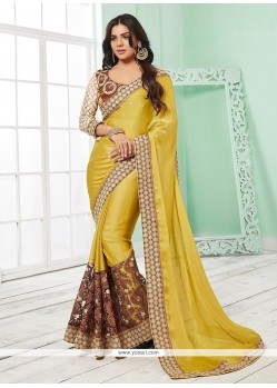 Piquant Embroidered Work Yellow Classic Saree