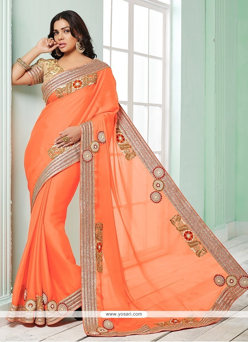 Glossy Orange Georgette Classic Saree