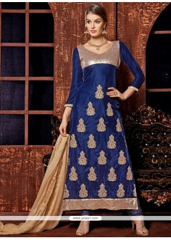 Navy Blue Zari Work Churidar Suit