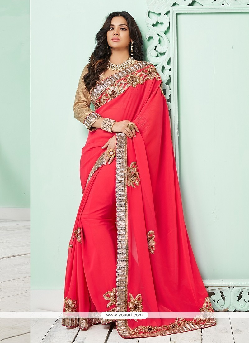 Elegant Hot Pink Bamber Georgette Classic Saree