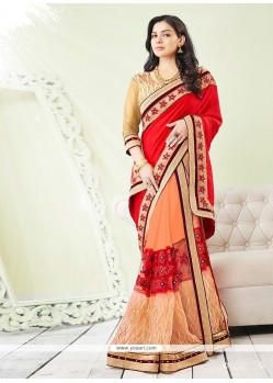 Pristine Georgette Red Classic Saree