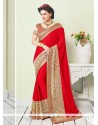 Princely Red Georgette Classic Saree