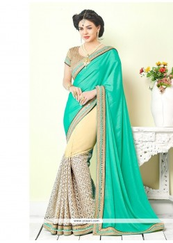 Trendy Georgette Sea Green Classic Saree