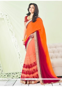 Eye-catchy Embroidered Work Georgette Classic Saree