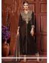 Charming Brown Velvet Churidar Suit