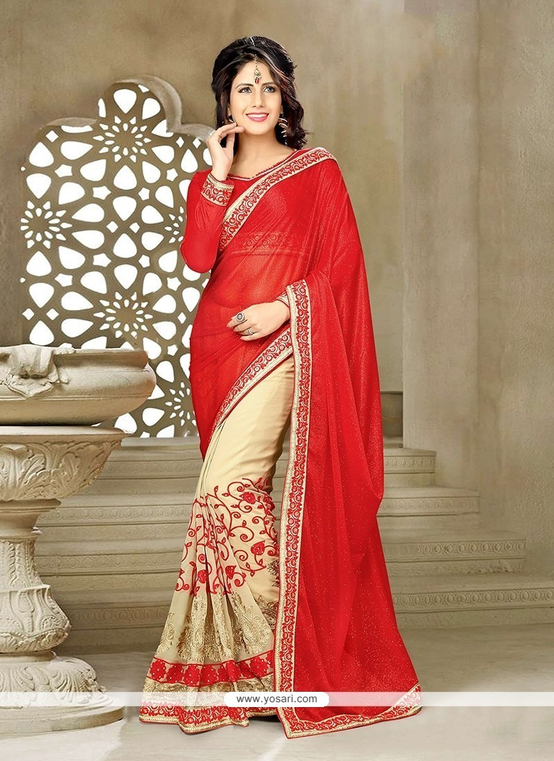 Exceptional Georgette Patch Border Work Classic Saree