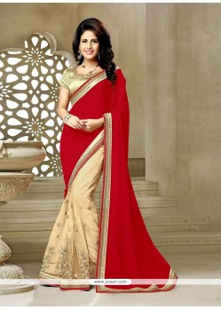 Absorbing Red Embroidered Work Net Classic Saree