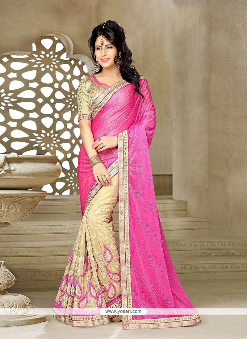 Riveting Pink Embroidered Work Classic Saree