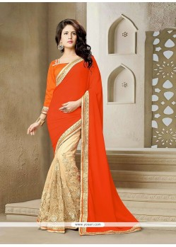 Modernistic Orange Patch Border Work Net Classic Saree
