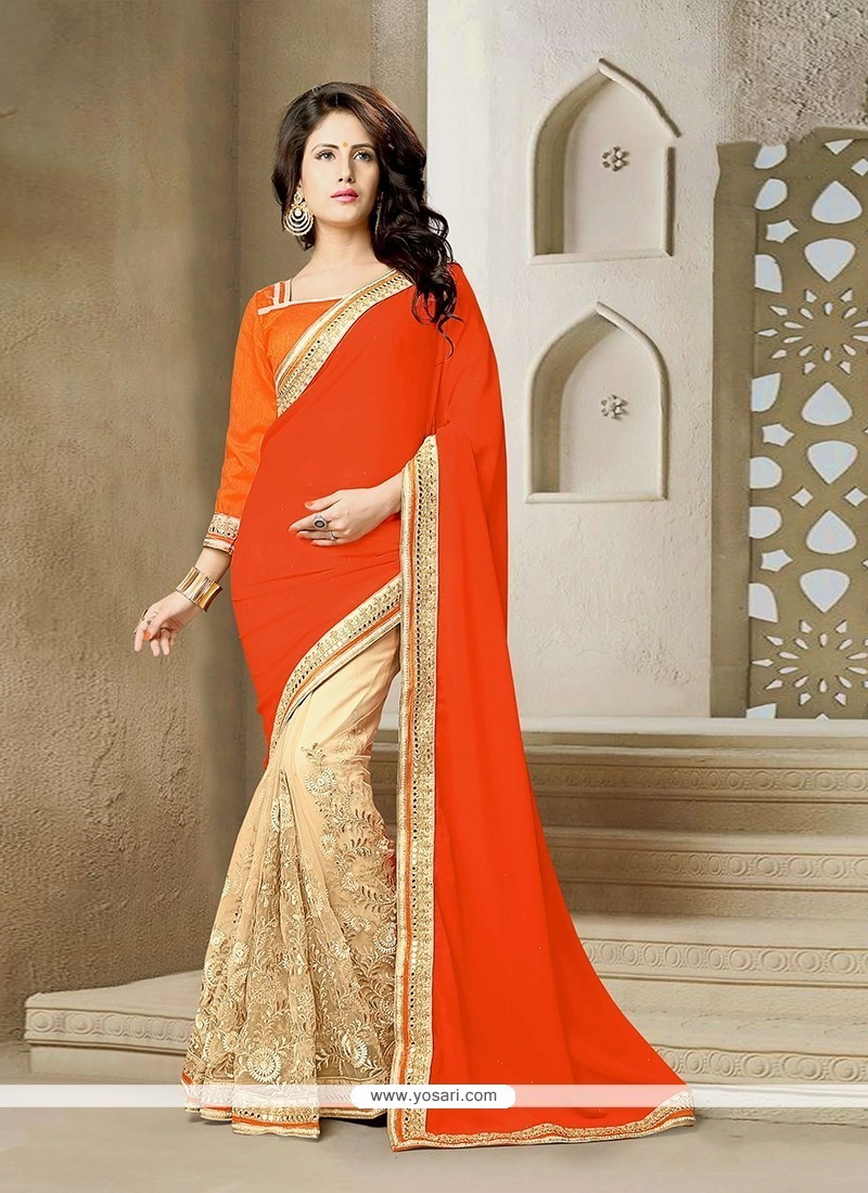 Modernistic Orange Patch Border Work Net Classic Saree