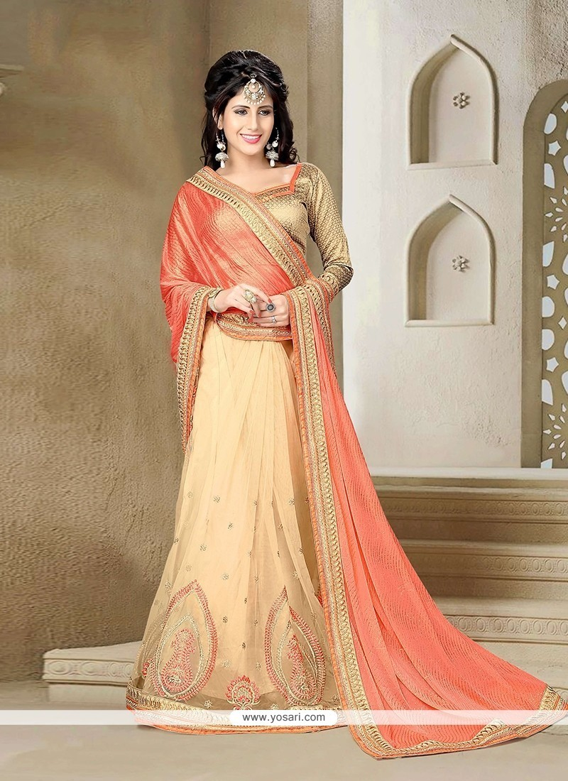 Magnetic Beige Embroidered Work Lycra Classic Saree