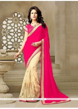 Beckoning Net Hot Pink Classic Saree