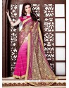 Chic Embroidered Work Pink Brasso Printed Saree