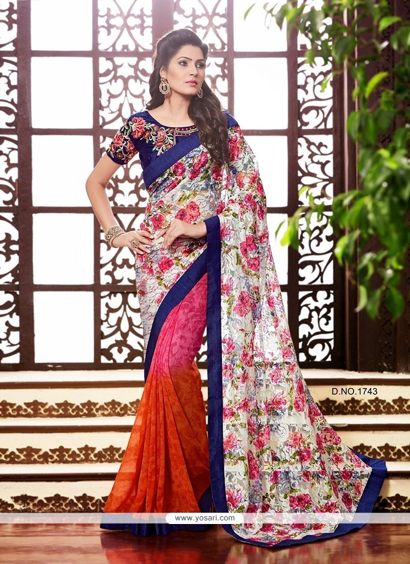 Charming Georgette Patch Border Work Printed Saree