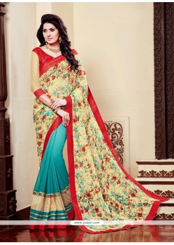 Distinguishable Georgette Multi Colour Embroidered Work Printed Saree