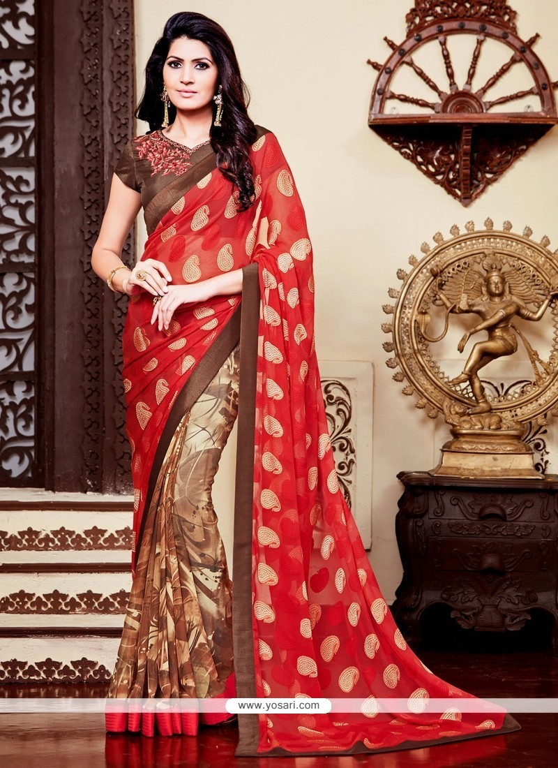 Patch Border Jacquard Printed Saree In Red