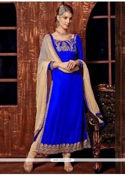 Royal Blue Zari Velvet Churidar Salwar Kameez