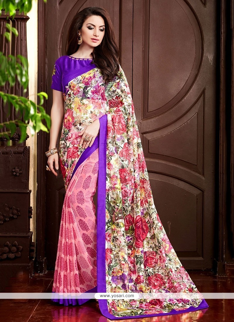 Charismatic Multi Colour Embroidered Work Printed Saree