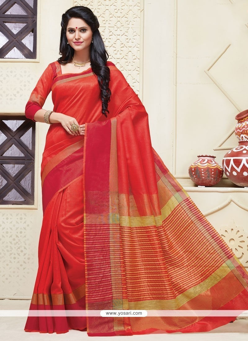 Riveting Orange And Red Designer Saree