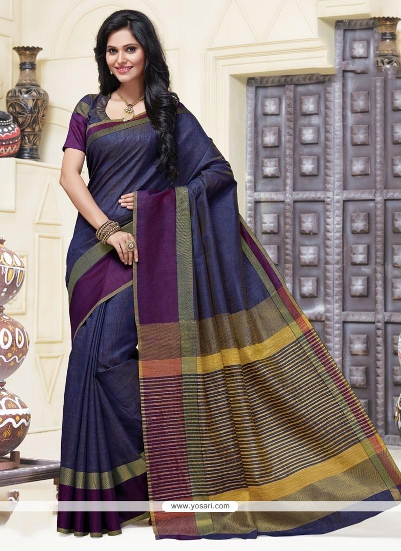 Sparkling Blue Cotton Designer Saree