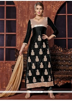Radiant Black Velvet Churidar Suit