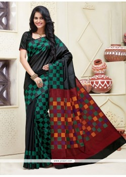 Prime Green Patch Border Work Cotton Designer Saree