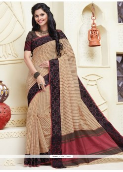 Stunning Cotton Beige Designer Saree