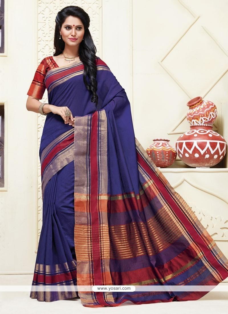 Delightsome Cotton Blue Designer Saree