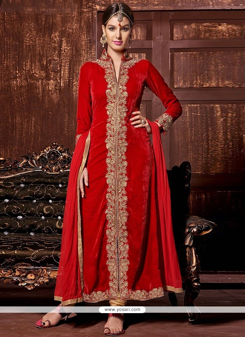 Angelic Red Velvet Designer Churidar Suit