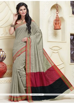 Versatile Grey Patch Border Work Designer Saree